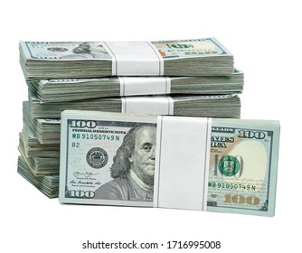 New design dollar bundles isolated on white background. Including clipping path