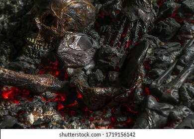 概念的な不気味なホラーハロウィーンとゲームのイメージとしての頭蓋骨と骨。