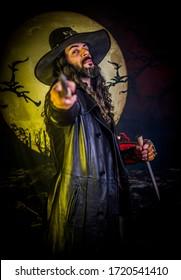 beautiful boy gothic demon vampire hunter with stake