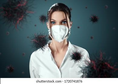 マスクの女の子は、空を飛んでいるウイルスの粒子から保護されています。コロナウイルス、COVID-19