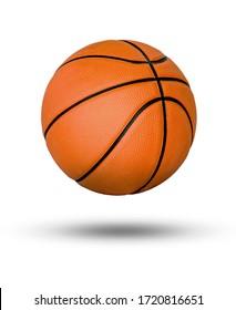 Basketballball über weißem Hintergrund.