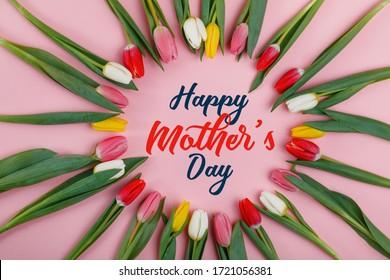 Schönen Muttertag. Bunte Tulpen auf rosa Hintergrund. Feiertagsgrußkarte für Frauentag, Muttertag, Frühlingsblumen flach liegen.