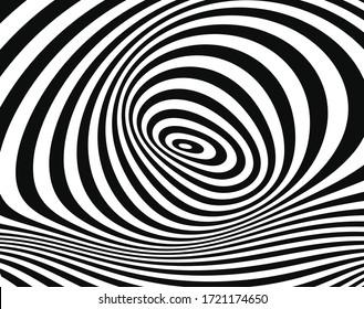 ラインアートオプティカルアート。サイケデリックな背景。モノクロの背景。目の錯覚スタイル。黒の暗い背景。モダンなパターン。抽象的なグラフィックテクスチャ。グラフィックオーナメント。ベクトルテンプレート