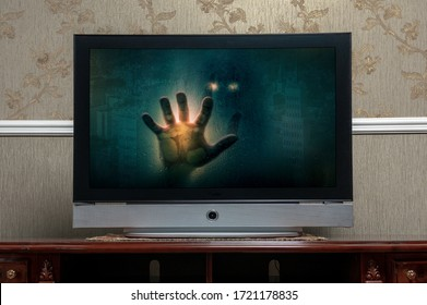 tv screen with horror show in the monitor. Media horror concept
