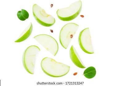白い背景で隔離の緑の葉と青リンゴの作品。上面図