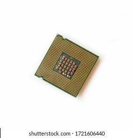 Imagen del chip de procesador de la CPU en un fondo blanco. Equipos y hardware informático. Unidad Central de Procesamiento., Microprocesador.