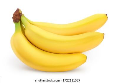 Bos van bananen geïsoleerd op een witte achtergrond met uitknippad en volledige scherptediepte.