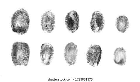 Satz verschiedene Fingerabdrücke auf weißem Hintergrund, Draufsicht