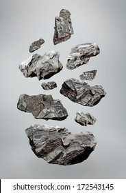 Schwimmende fallende Steine