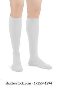 White color short mini socks mockup for design isolated on white background. Set of short socks for sports as mock up and label for advertising, logo, branding. Pair sport cotton socks.