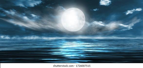 Nachtseelandschaft. Dunkle Landschaft mit einem Meereshintergrund und Sonnenuntergang, Mond. Abstrakte Nachtlandschaft im blauen Licht. Reflexion des Mondes im Nachtwasser. Leere futuristische Landschaft.