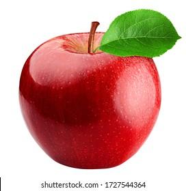 白い背景、クリッピングパス、完全な被写界深度で分離された赤いリンゴ