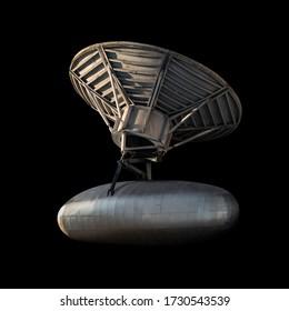 黒で隔離された宇宙のSFアルミニウム銀衛星のビンテージビュー