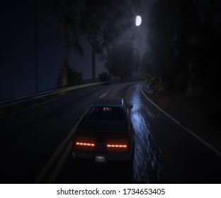 Conducir de noche en una carretera mojada en Los Ángeles - Night Drive - GTAV