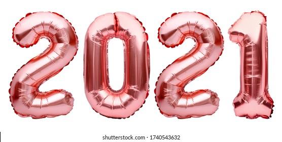 明けましておめでとうございます2021年の数字。白い背景で隔離のローズゴールデンクリスマス2021バルーン。ヘリウム気球、ピンクゴールドの箔番号。パーティーの装飾、記念日、お祝い、カーニバル