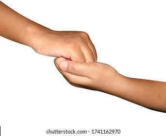Two Human Hand lock in together show hand movement of helping one another to overcome all obstacles. Lasting Friendship concept. Isolated in white background