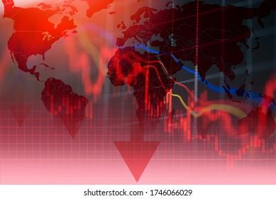 不況経済株価暴落赤市場貿易戦争経済世界金融/ビジネスと株式危機とパンデミックコロナウイルスCOVID-2019または関係米国中国のために市場が下落