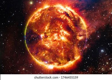 太陽は太陽系の中心にある星です。NASAによって提供されたこの画像の要素