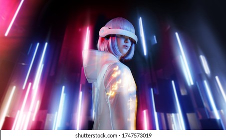 Beautiful woman with purple hair in futuristic costume over neon light background. Girl in glasses of virtual reality. Augmented reality game, future technology, AI concept. VR.