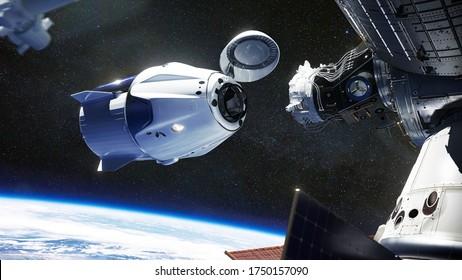 Raumschiff SpaceX Crew Dragon, das an die Internationale Raumstation andockt. Dragon kann bis zu 7 Passagiere zur und von der Erdumlaufbahn und darüber hinaus befördern. Elemente dieses Bildes von der NASA eingerichtet