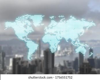 de blauwe neon gloed wereldkaart is gerangschikt met vierkanten pixel bit stijl voor grafisch ontwerp, t-shirt print. Transportmedia, reizen en zaken met vage stadsgezicht achtergrond.