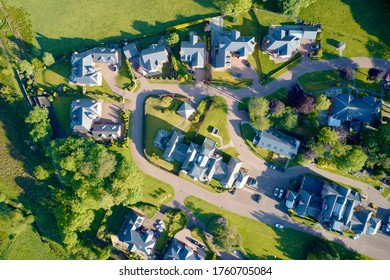 Luxury countryside rural village aerial view from above in Renfrewshire Scotland UK