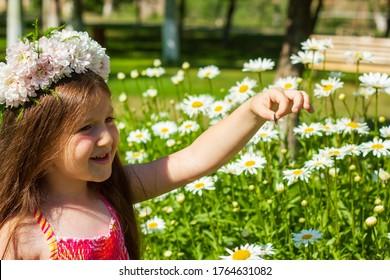 Mädchen in einem Feld von Kamillen, die einen Schmetterling fangen