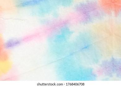 絞り染めパターン。美しいアクリルの汚れた絵。縞模様の絞り染めパターン。明るい色染めの背景。トレンディなファッションの壁紙。グランジ水彩万華鏡。ファンタジーファブリック。