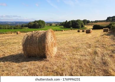 Ländliche Landschaft mit Heubällen auf dem gemähten Feld