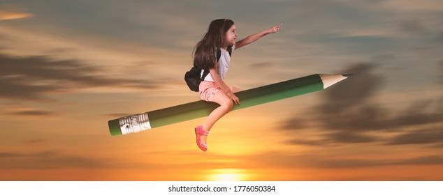 学校のコンセプトに戻り、鉛筆に座っている少女が空を飛んでいます。