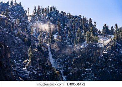 Bridalveil Falls waterfall in Yosemite National Park San Francisco in North California United States. USA National park landmark and famous tourist spot for travel destination and adventure concept.