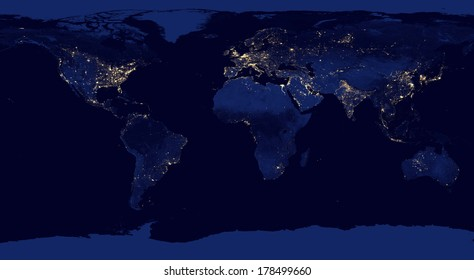 """Earth night view from space with city lights. Digitally combined from a collection of satellite-based observations. """"Elements of this image furnished by NASA"""" ."""