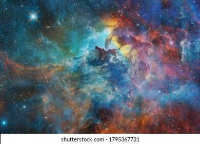 Nebula, cluster of stars in deep space. Science fiction art. Elements of this image furnished by NASA.