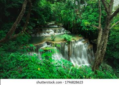Landscape of Huai Mae Khamin Waterfall in National Park, Kanchanaburi, Thailand
