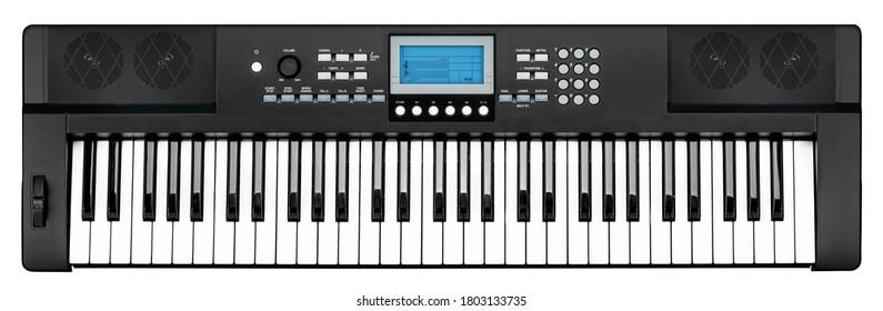 modernes schwarzes Klaviertastatur elektronisches Synthesizer-Partyband-Studiomusikinstrument mit blauem Anzeigebildschirm lokalisiert auf weißem Hintergrund