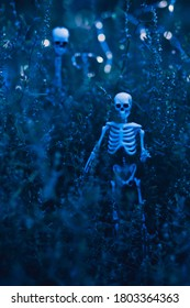 Night procession of skeletons. Invasion of the undead. Army of evil dead walking through the forest.