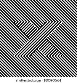 黒と白の文字Xの光学効果。目の錯覚のアルファベット。