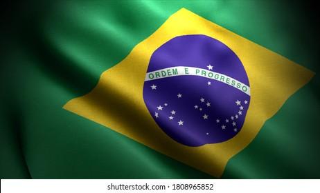 Nahaufnahme wehende Flagge von Brasilien. Flaggensymbole von Brasilien.