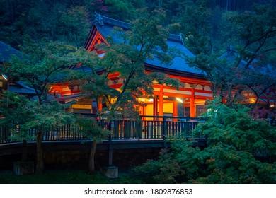 日本の寺院。日本の仏教寺院の探求。日本の夜の街。日本のお寺へ旅行。和風の建物の隣の木々。コンセプト-日本の地域を旅する。夜。
