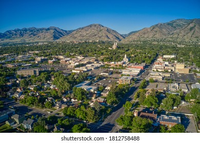 Aerial View of Logan, Utah in Summer