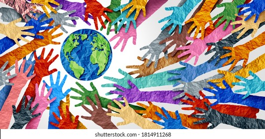 World diversity or earth day and international culture as a concept of diversity and crowd cooperation symbol as diverse hands holding together the planet earth.