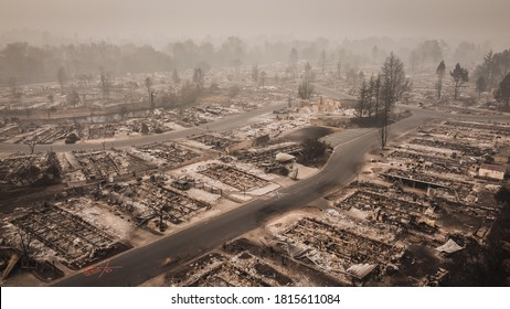 Aerial View of the Almeda Wildfire in Southern Oregon Talent Phoenix Northern California. Fire Destroys many people's livelihoods and flips their lives upside down after fire had blown through town.