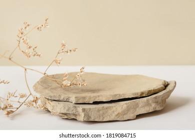 Fondo para productos cosméticos de color beige natural. Podio de piedra y flor seca sobre un fondo blanco. Vista frontal.
