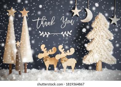 Árbol de Navidad, alces, luna, estrellas, nieve, texto de agradecimiento, copos de nieve