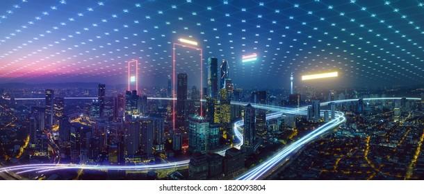 スマートシティとスピードラインライト、ビッグデータ接続技術の概念と抽象的なポリゴンパターン接続。