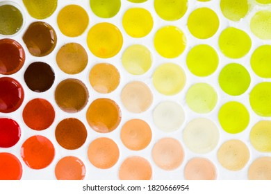 Colorful and multicolored honeycomb background, yellow, green and red colors