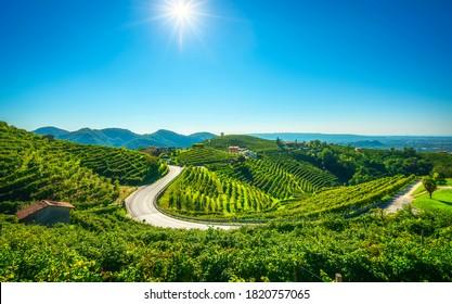 Weinberge und Straße. Prosecco Hills, UNESCO-Weltkulturerbe. Valdobbiadene, Venetien, Italien