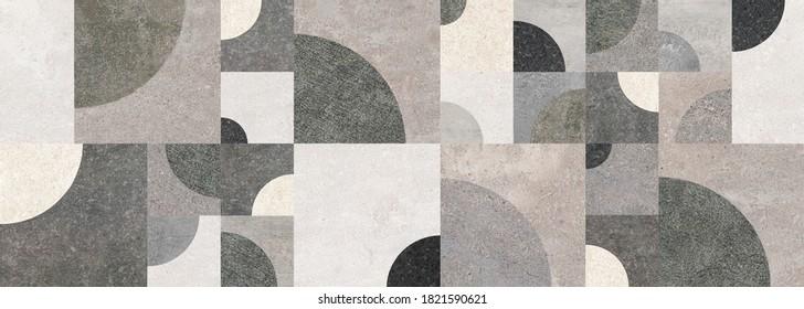 Geometrische Dekoration durch verschiedene Zementstrukturen. Geometrische Wand.