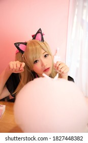 Cosplay game uniform costume young woman in pink room