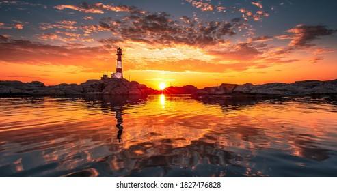 Leuchtturm Sommer Sonnenuntergang 4k Wallpaper